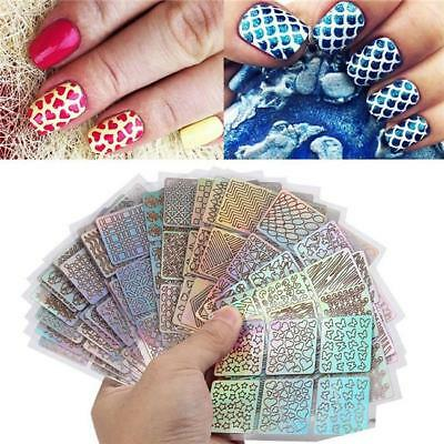 Vinyls Mermaid Scale Pattern Nail Manicure Irregular Hollow Nail Art Stamping CS
