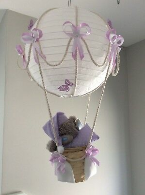 Me to you Teddy in a hot air balloon nursery light shade, lilac