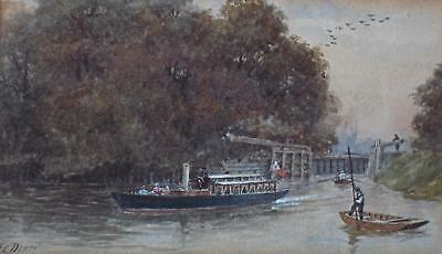 River Thames Temple Lock at Marlow Watercolour Frederick Charles Dixey c1885