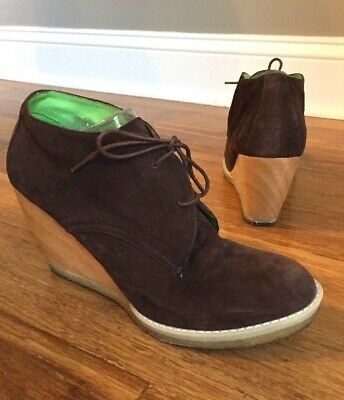 8787ceda450a Matiko Brown Suede Lace Up Wedge Heel Ankle Boots Crepe Sole Booties Sz 9.5