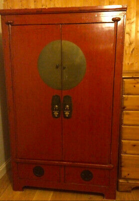 Antique Red-laquered Chinese Wedding Cabinet