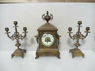 Antique Brass Garniture Mantle Clock & Candelabra Candle Holder French Rococo