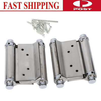 """Pair Stainless Steel Double Action Spring Hinge Saloon Cafe Door Swing 3"""" Inch"""
