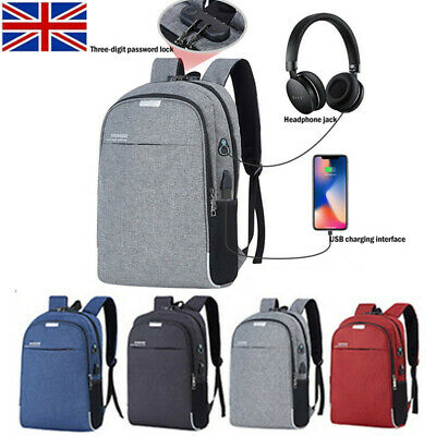 Unisex Anti-Theft Laptop Backpack Travel Business School Bag Rucksack +USB Port