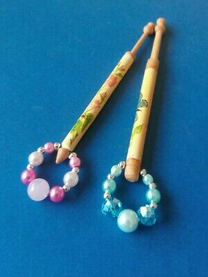 2 Wood Painted Lace Bobbins.1Butterfly &1 Pink Flowers & Saying of Love.Spangles