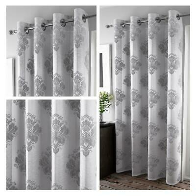 Silver Voile Curtain Grey Flock Damask Panel Ready Made Rod Slot Top Curtains