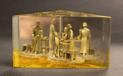 Creed Vintage Lucite Jesus with Joseph Carpenter Apprentice 3D Paperweight EUC