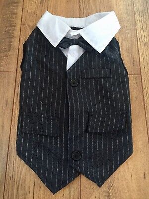 "Dog Costume Pinstripe Waistcoat , Shirt Bow tie Dog Coat Approx 12"" Small VGC"
