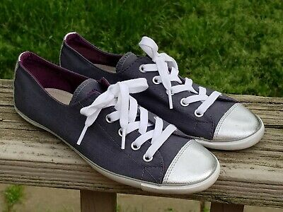 51f5eb3d59bf Chuck Taylor Converse Lite Light Ox Dainty All Star Gray Silver Metallic  Toe 7
