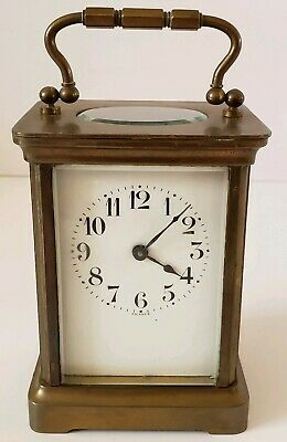 Antique Working 19th C. Duverdrey & Bloquel French Brass & Glass Carriage Clock