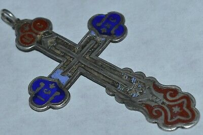 ANTIQUE 19 CENTURY IMPERIAL RUSSIAN Enamel SILVER 84 Orthodox Cross Icon Pendant
