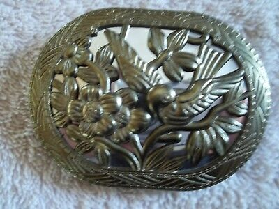 Vintage Oval Belt Buckle, Bird & Flower Design Over Mirror, Brass