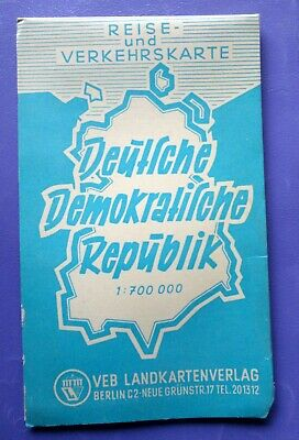 1960's East Germany tourist travel road folded map DDR