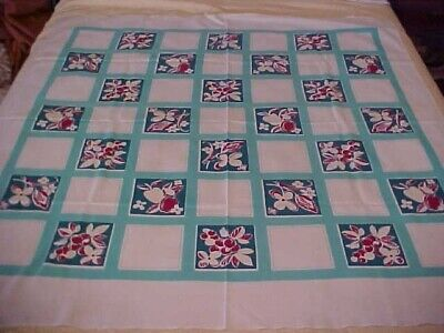 Vtg Printed Tablecloth w/ Checkerboard Design with Fruits & Flowers Blue & Turqu