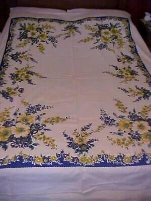 VTG J.S.&S. Hand Printed Tablecloth w/ Blue & Yellow Flowers Original Label