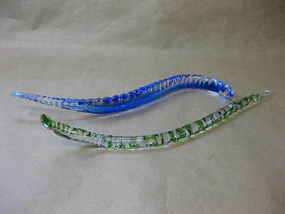 2 Vintage Decorative Glass Snakes ~ Blue & Green ~ 14 Inches Long