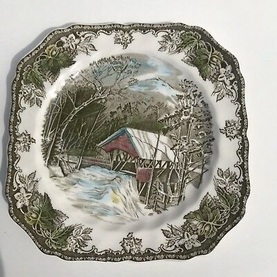 """Johnson Brothers The Friendly Village Covered Bridge Square Salad Plate 7 3/4"""""""