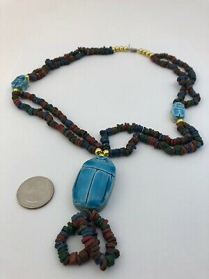 Antique Egyptian CARVED BIG SCARAB Necklace Tiny Clay Beads EGYPT Trade Beads👀