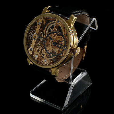 HEBDOMAS WATCH Co MEN'S 8 DAYS SKELETON ENGRAVED SWISS MOVEMENT SPIRAL BREGUET