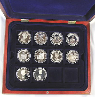 The Queen Mother Silver and Gold Coin Collection 106 proof coins in wooden cases