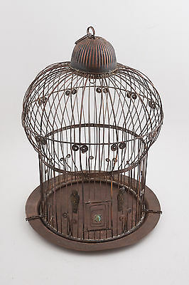 Copper/Red Brass Bird Cage House w/Egyptian Motifs Scarab Sarcophagus 17x13""