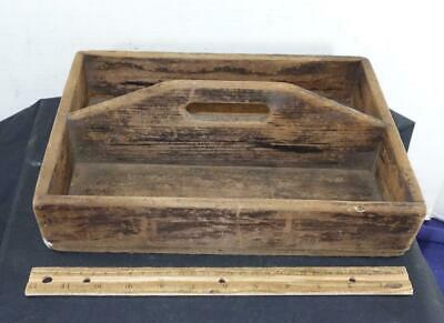 Primitive Antique Wood Tray Cutlery Knife Box Utensil Tools What Not !