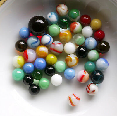 45 vintage marbles including red shooter, opalescent, stripes, catseye