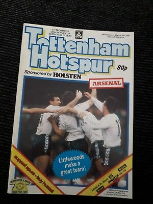 1987-Tottenham Hotspur-Spurs V Arsenal-League Cup Semi Final Replay Programme
