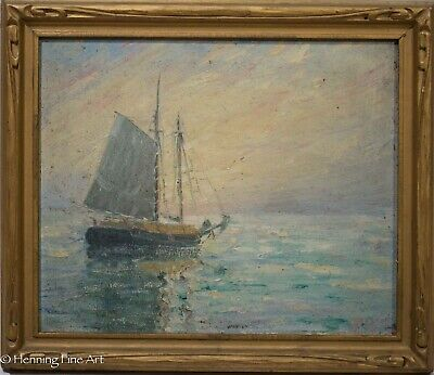 """Stunning Antique Impressionist Oil Painting Seascape ww/ Ship Signed """"R. Carter"""""""