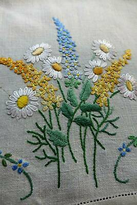 Vintage Irish linen hand embroidered topper  - Daisies & Delphiniums.