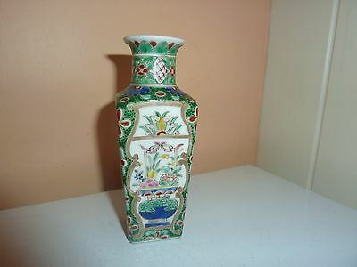19Thc French Samson China 4 Sided 12.2Cm High Vase In Chinese Famille Vert Style