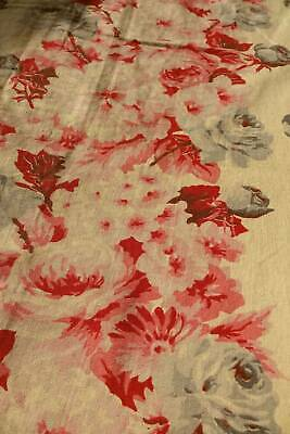 2 panels antique Victorian cotton fabric - pink & red cabbage roses cream ground