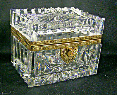 Vintage Heavy French Crystal Glass & Bronze Casket Box with Key