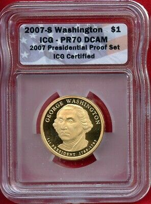 2007 S Icg Pr70 Dcam George Washington Proof Presidential Dollar #103439 Us Mint