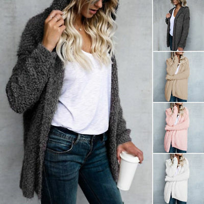 d542819303f WOMENS WINTER BAGGY Cardigan Long Sweater Coat Knitted Oversized ...