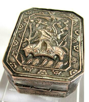 Antique Chinese Silver Snuff Opium Box Chased Raised Lid Figure Hallmarked
