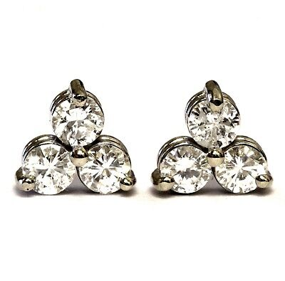 6b4c0d4c0 14k white gold .54ct SI1 F 3 stone round stud diamond earrings vintage  estate