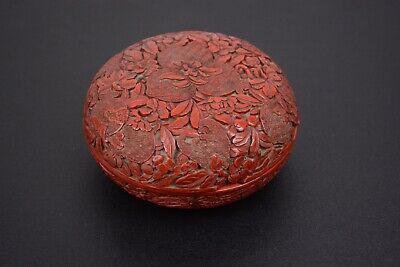 Fine Antique Chinese 18th Century Cinnabar Lacquer Box And Cover
