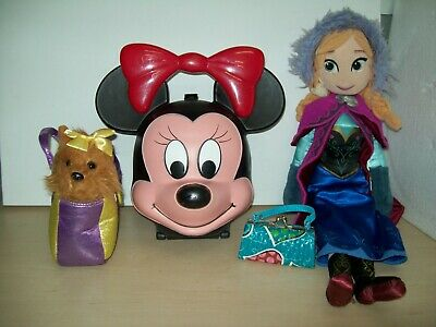 Job Lot Of Girls Disney Lunch Bag, Doll, Dog In A Bag And Small Bag #15E