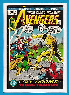 """Avengers #101_July 1972_Vf Minus_""""five Dooms To Save Tomorrow""""_Bronze Age!"""