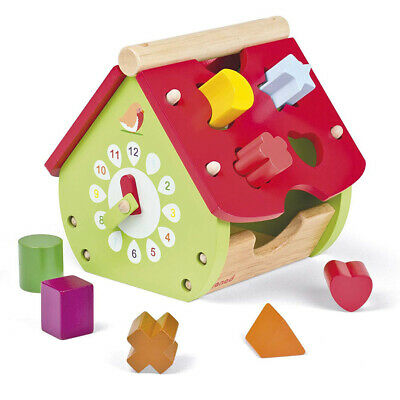 Wooden House Shape Sorter With Clock - Early Years Baby Toy
