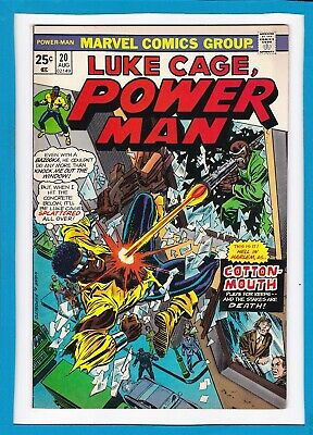 """Luke Cage, Power Man #20_August 1974_Fine Minus_Cottonmouth_""""hell In Harlem""""!"""