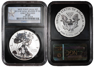 2013-W Reverse Proof West Point Set Silver Eagle NGC PF69 ER WPS Label Retro Cor