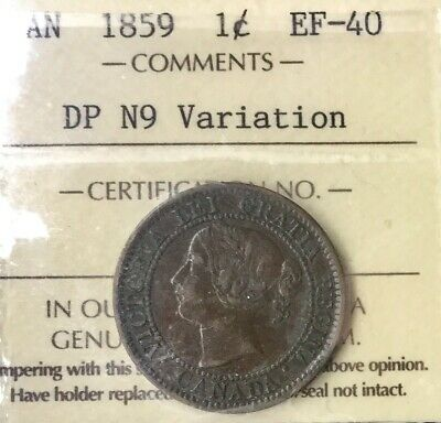 Canada 1859  DP N9 Variation  Large Cent Key Date Victoria Graded ICCS EX40