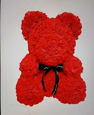 40cm Teddy Bear Lovely Big Red Rose Flower Bear Kids Toys Lovers Gifts Uk