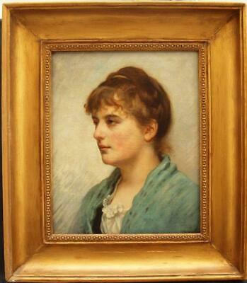 FINE 19th Century FRENCH PORTRAIT STUDY YOUNG LADY Antique Oil Painting