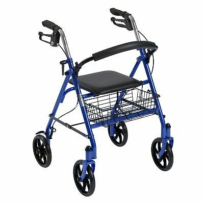 Drive Medical Rollator Rolling Walker Folding Removable Back Support Steel Blue