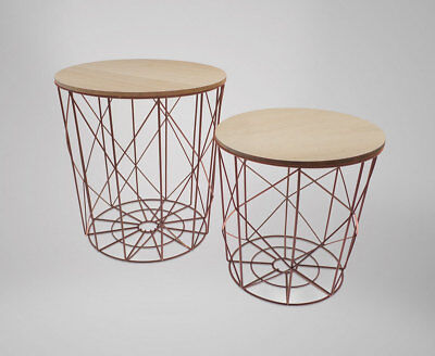 Set of 2 Industrial Style Scandi style Metal Nesting Tables / Side tables Copper