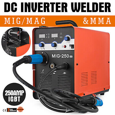 Combined Welder Mig Mag Mma Fcaw Mobile Use Carrying Handles 230V 250A With Mask