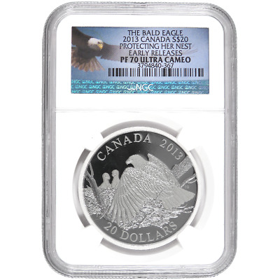 2013 Proof $20 Canadian Silver Bald Eagle Protecting Her Nest 1oz NGC PF70UC ER